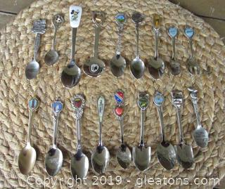 17 Souvenir Spoons & 1 Fork: Bahamas, Spoon & Fork Freeport Bahamas, Bermuda, Las Vega, Disney, John Hancock Center Chicago, Boston, Puerto Rico, Atlanta GA, Sea Escape, Parrot Jungle Florida, Miami, Sanibel & Captiva Islands