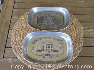 Two Small Bread Trays: Bless This House and Give Us This Day Our Daily Bread  Both By Wilson and Both Made in the USA