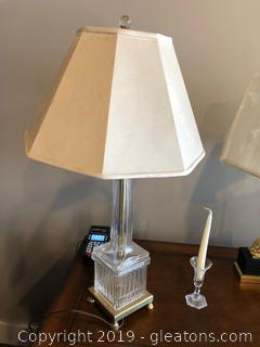 Gorgeous Crystal Lamp W/Brass Base by David Thomas