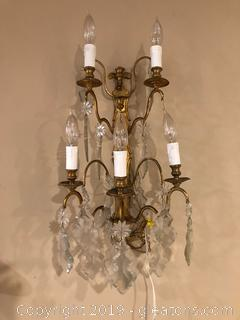 Unique Gilded Sconce With Chandalier Crystals and Faux Candles