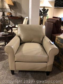 """Danica"" Taupe Leather Accent Chair by Bradington Young"
