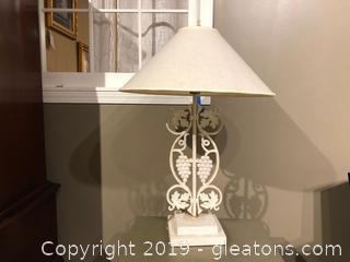 White Iron Lamp on Pedestal