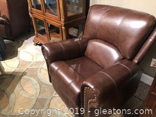 Brown Leather Rocking Recliner with Nailhead Trim