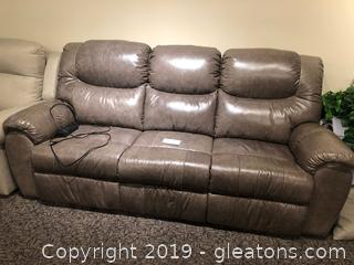Beautiful Weathered Gray (3) Seat Sofa W/ Power Pak and Reclines