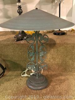 Modern Metal Verde Green Lamp W/ Wide Umbrella