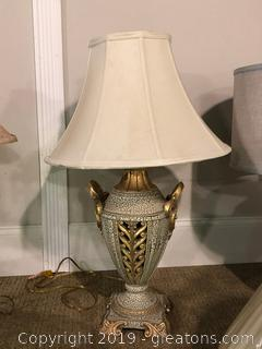 Antique Inspired Lamp Crackle and Gold Trim W/ Ivory Shade by Denny Lamp Co, Inc