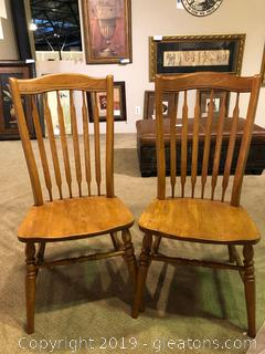 Pair of Solid Wood Farmhouse Chairs