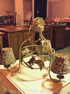 "Playful ""Barada"" Monkey Metal Chandelier W/Animal Print"