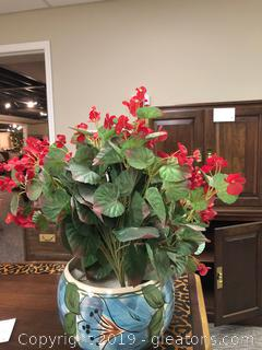 Pretty Red Blossom Floral Arrangement in Glazed Ceramic Pot