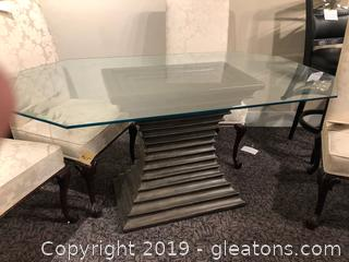 Elegant Modern Very Heavy High End Glass Top Table