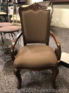 Elegant Wood and Upholstered Arm Chair