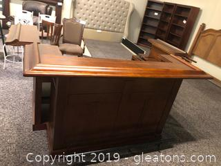 Solid Wood Classic Home Bar in Brown Cherry