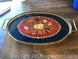 Elegant Tray with Inlaid Wood Design