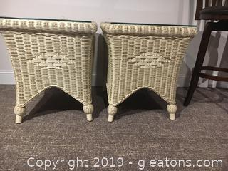 Pair of Wicker Side Tables by Henry Link