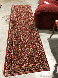 Karastan Red Barouk Wool Pile Rug Runner