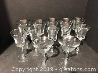 Elegant Set of Silver-Trimmed Crystal Beverage Glasses from Tiffany and Co.