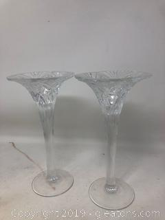 Stunning Pair of Waterford Diamond Cut Candle Sticks