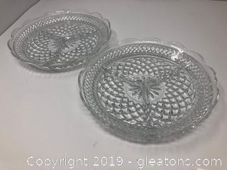 Pair of Elegant Lead Crystal Divided Dishes