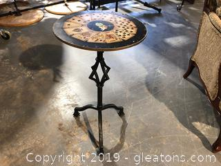 Accent Table W/Wrought Iron base & Cards on the Table Top