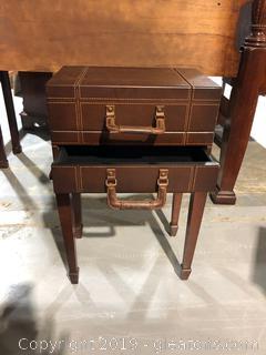 Dark Wood Suitcase Table