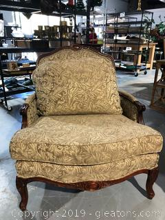 Large Wood Frame Chair W/Olive Green Floral Design Fabric