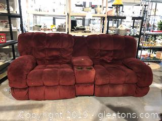 Burgundy Two Seat Recliner W/Cup Holder