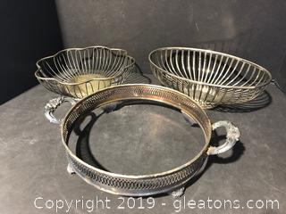 Godinger Silver Plated Dish Holder and Two Wire Bowls