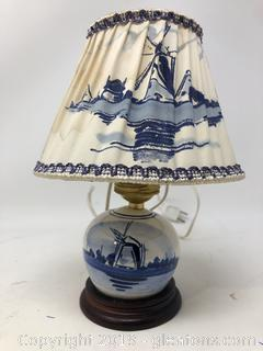 Vintage Delphi Lamp and Shade Made in Holland