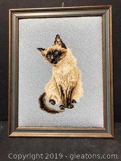 Framed Needlepoint Siamese Cat