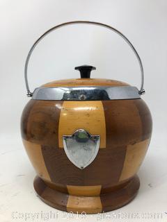 Vintage American Walnut Ice Bucket Biscuit Barrel