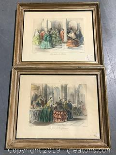 Pair of Hand Colored Artwork original Frames by Fleck Bros.