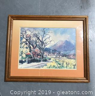 Watercolor Like Artwork of a Town With Mountain Vibrant Colors With Original Matte and Frame