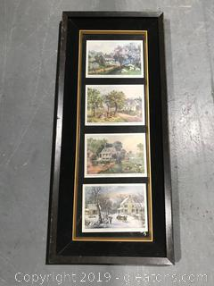 The Four Seasons Currier and Ives Lithograph NY American Homestead Art