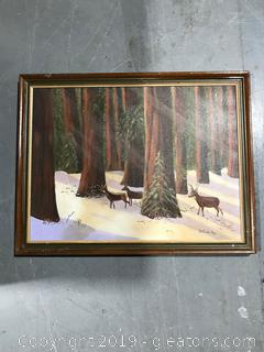 Original Painting of Deer in the Woods by Quertrade Ray