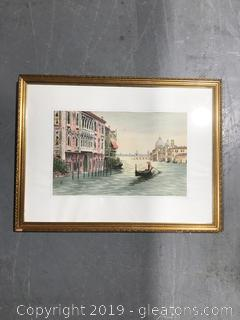 Gondola in Italy Artwork Behind Glass and Gold Frame