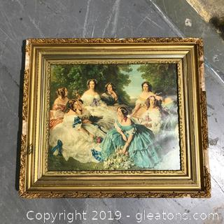 Ladies in the Garden Print Behind Glass with Detailed Gold Frame