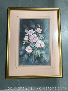 Mom's Pink Poppies Limited Addition Shirley Hamilton Lithograph