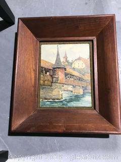 Watercolor-Like Artwork of a Covered Bridge with an Amazing Vintage Frame