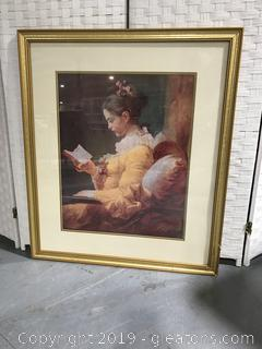 """Lady Reading a Book"" Lithograph Behind Glass"