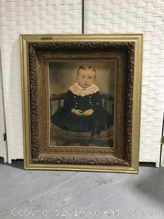 Portrait of a Young Boy in an Ornate Vintage Frame
