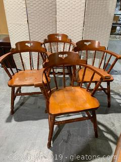 Set of 4 Early American Captain Chairs