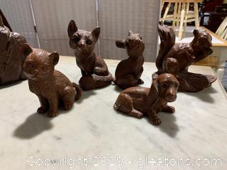 Collection of  5 Red Mill Wooden Carved Figurines