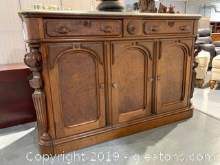 Beautiful Antique Buffet With marble Top