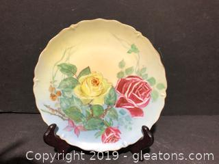 """7¾"""" Round  Antique Hand painted Plate by Little"""