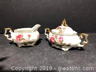 Beautiful  Mini Porcelain Sugar and Creamer