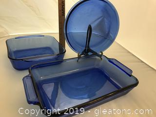 Blue Pyrex and Anchor Hocking Dishes