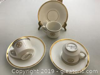 Three Vintage Navy Demitasse Cups and Saucers