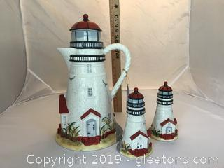 Lighthouse Pitcher and salt and pepper
