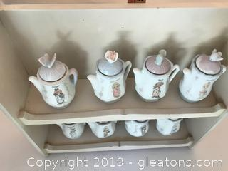 Precious Moments Spice jars and rack