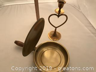Brass candle holder and private butler